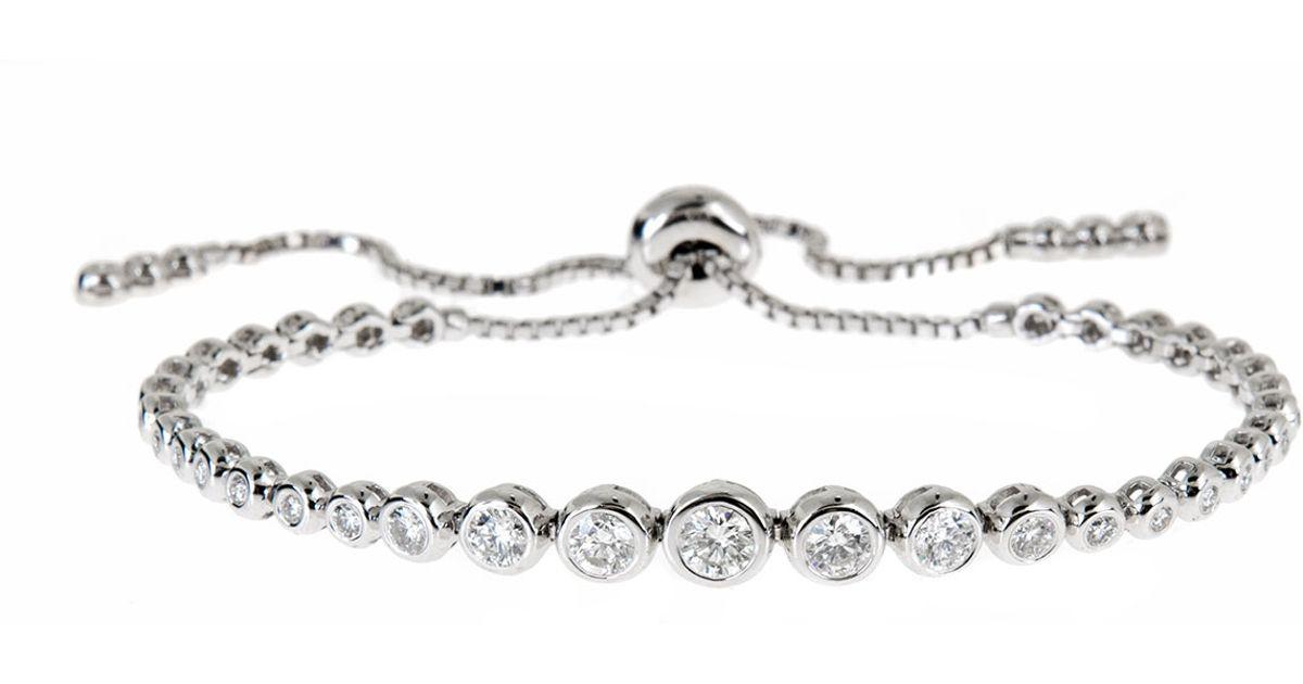 Neiman marcus 14k White Gold Adjustable Diamond Bracelet in