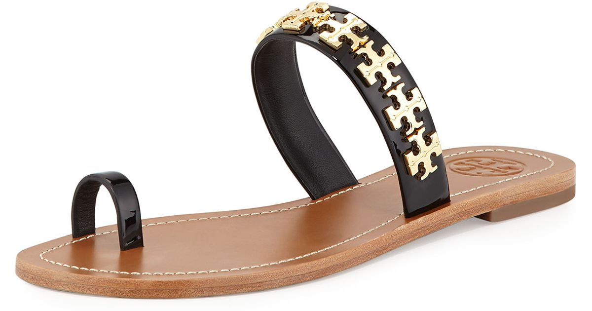 87acd0687 ... france lyst tory burch val patent flat sandal in black 25888 58668 where  to buy ...