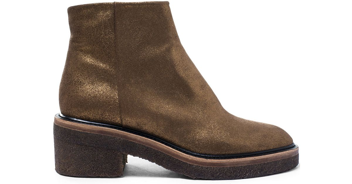 c40e683e18 Dries Van Noten Gold Crepe Sole Leather Ankle Boots in Metallic - Lyst