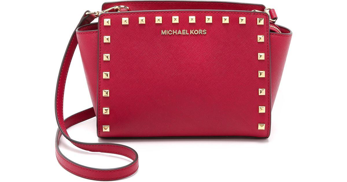 86809859b3ab MICHAEL Michael Kors Selma Stud Medium Messenger Bag - Cherry in Red - Lyst