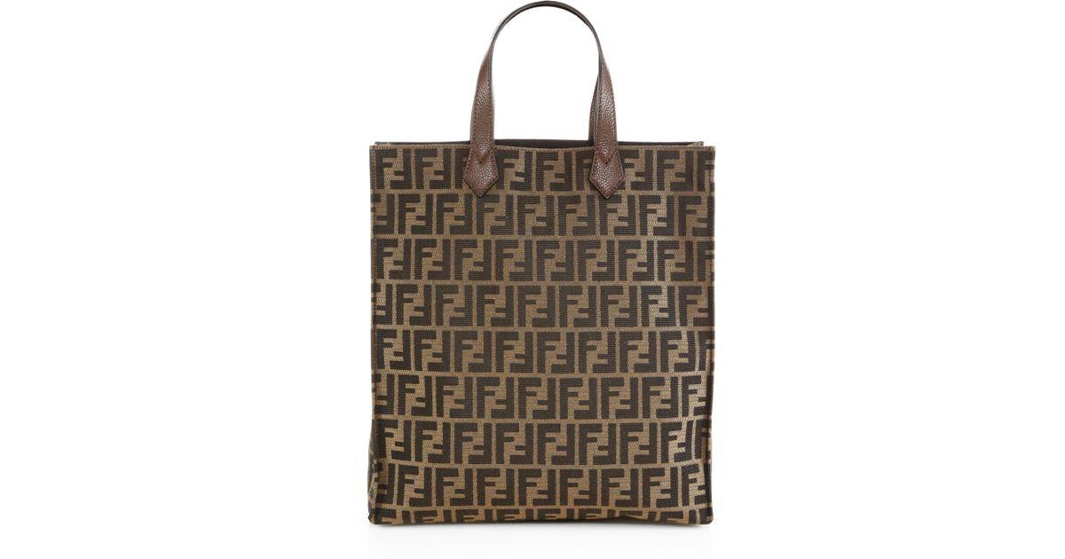 dc0a9e1c71 ... tote bag bb274 3cf68 low price lyst fendi signature monogram shopping  bag in brown 3c899 63cc7 ...