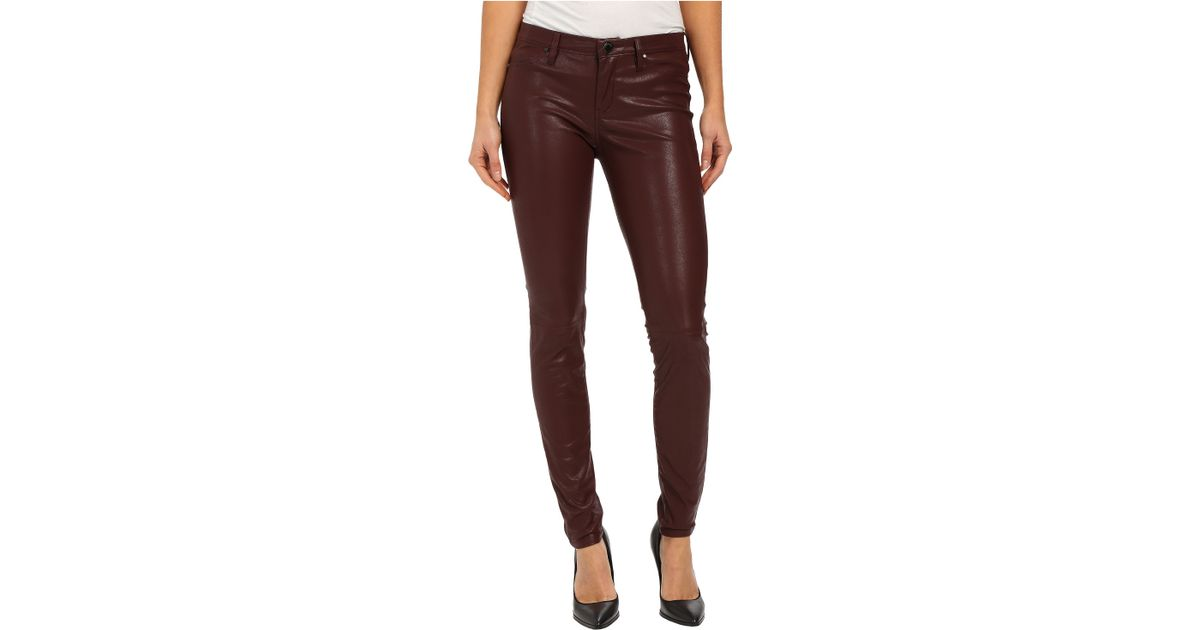 25e41a115d7dc Lyst - Blank Burgundy Five-pocket Vegan Leather Pants In Going Downtown in  Brown