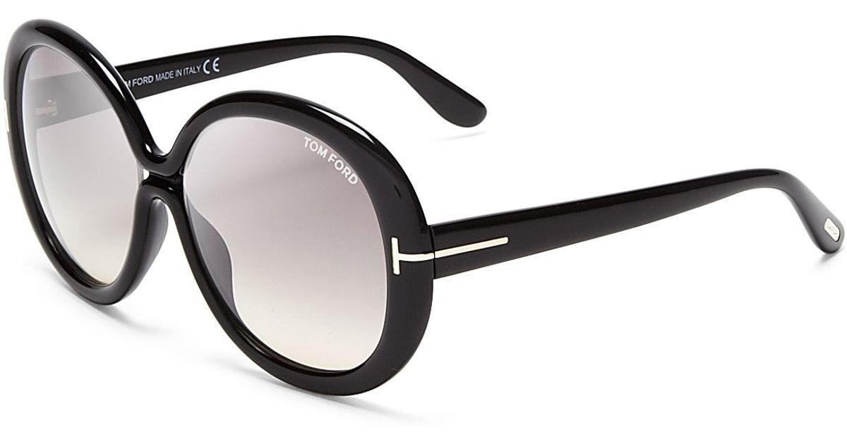 14d74ba3b1b ... Tom Ford Gisella Oversized Round Sunglasses 58mm in Black Lyst
