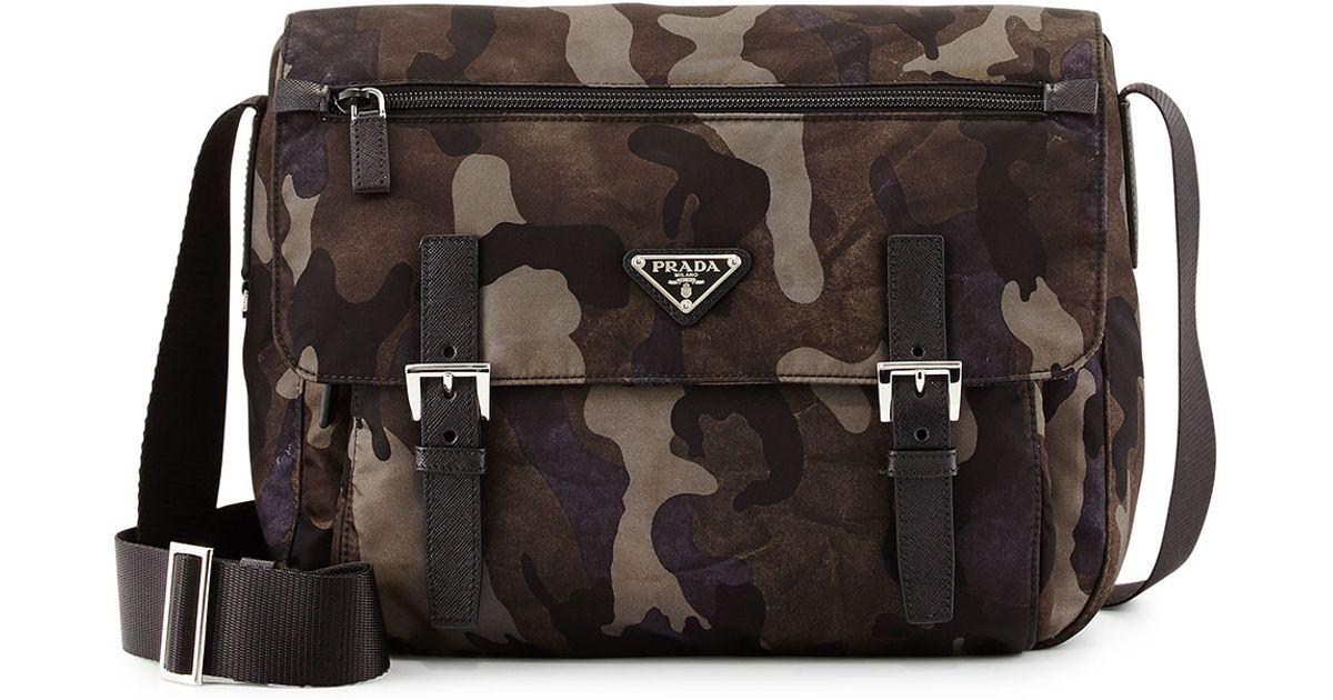 f28b3cc6d3 ... uk prada tessuto camouflage messenger bag in gray for men lyst 4f742  45fcd ...
