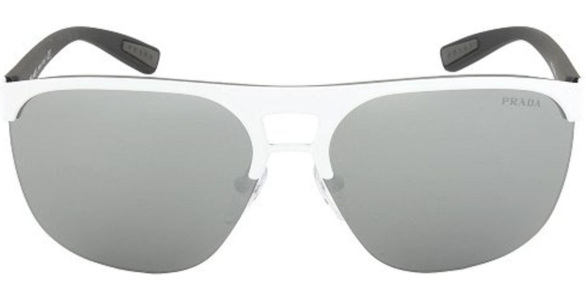 20cbf4f08d wholesale lyst prada sport ps53qs twk7w1 sunglasses white frame gray mirror  silver lens in white 216e7