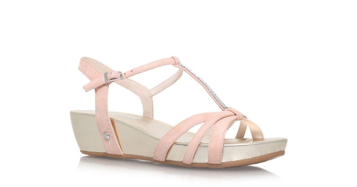 Carvela kurt geiger Solar Low Wedge Heel Sandals in Beige (Nude