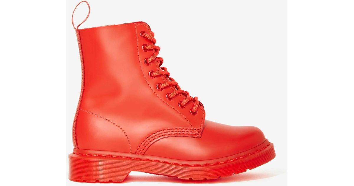 Lyst - Nasty Gal Doc Martens Pascal 8-Tie Boot - Red in Red fbb3cab79