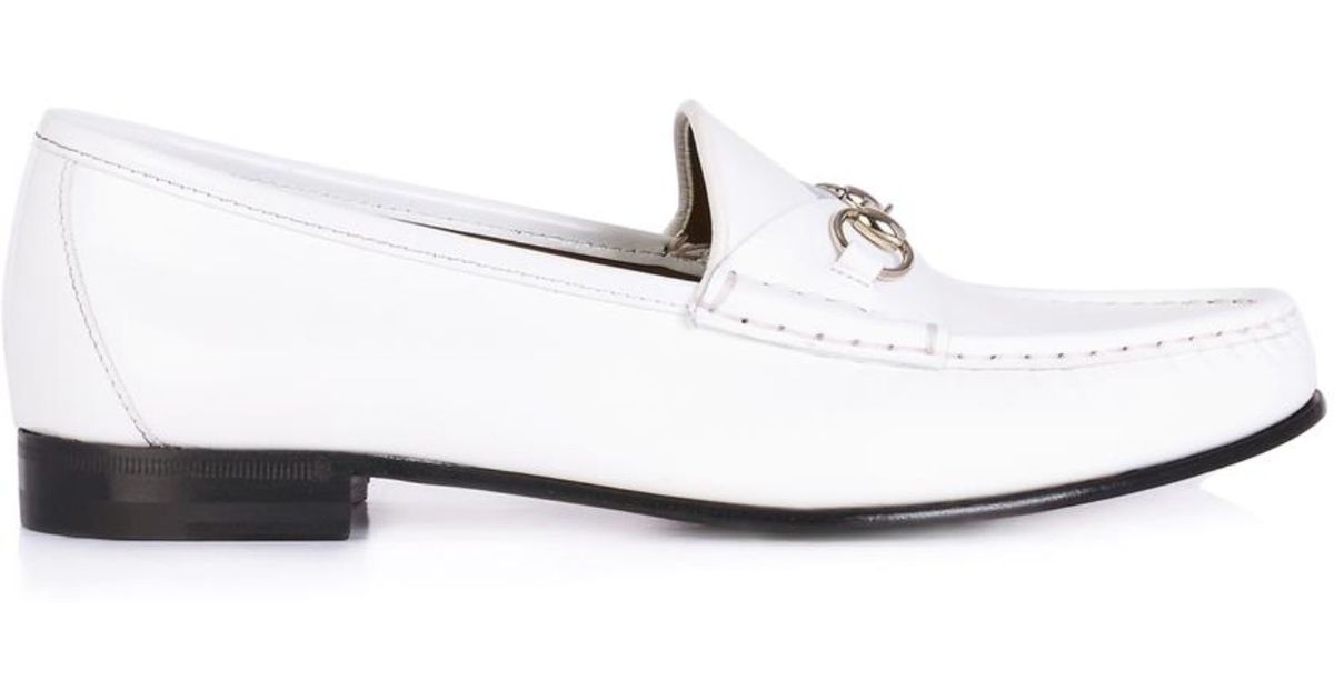 7755349f3135 Lyst - Gucci 1953 Leather Horsebit Loafers in White