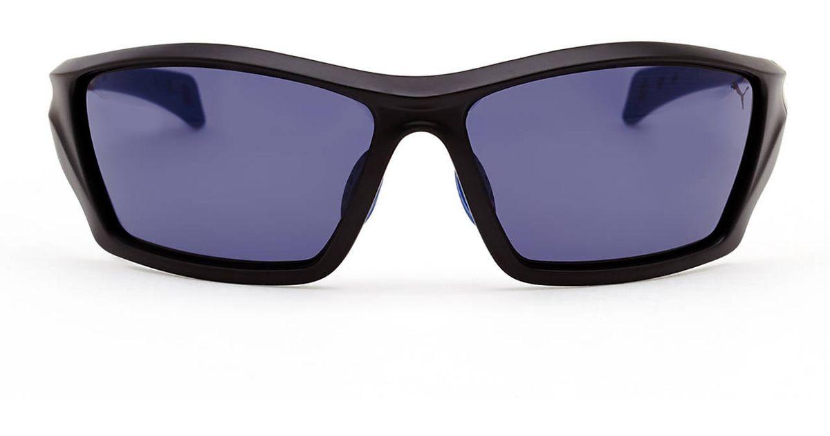 e3c5975df3 Lyst - PUMA Pu14701 Black Sport Wrap Sunglasses in Black for Men