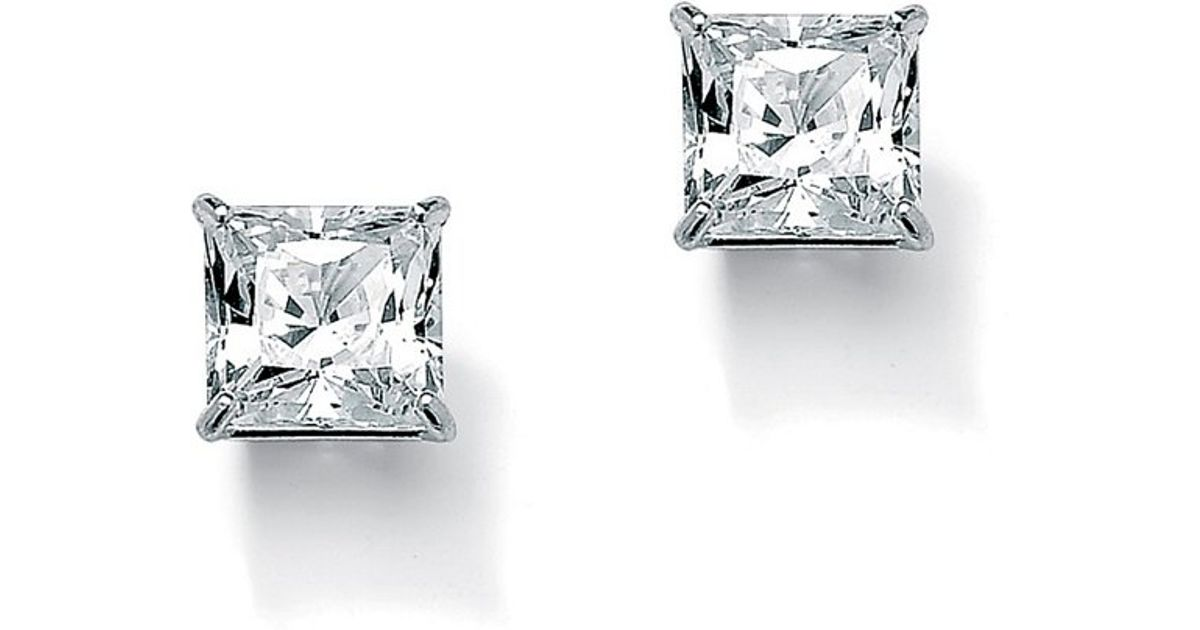 Lyst Palmbeach Jewelry 3 24 Tcw Princess Cut Cubic Zirconia 10k White Gold Stud Earrings In Metallic