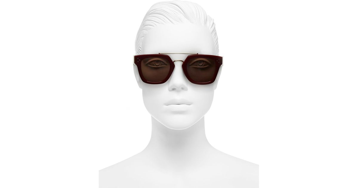 6fc5e804799 Lyst - Céline Red Metal Bridge Square Sunglasses in Red