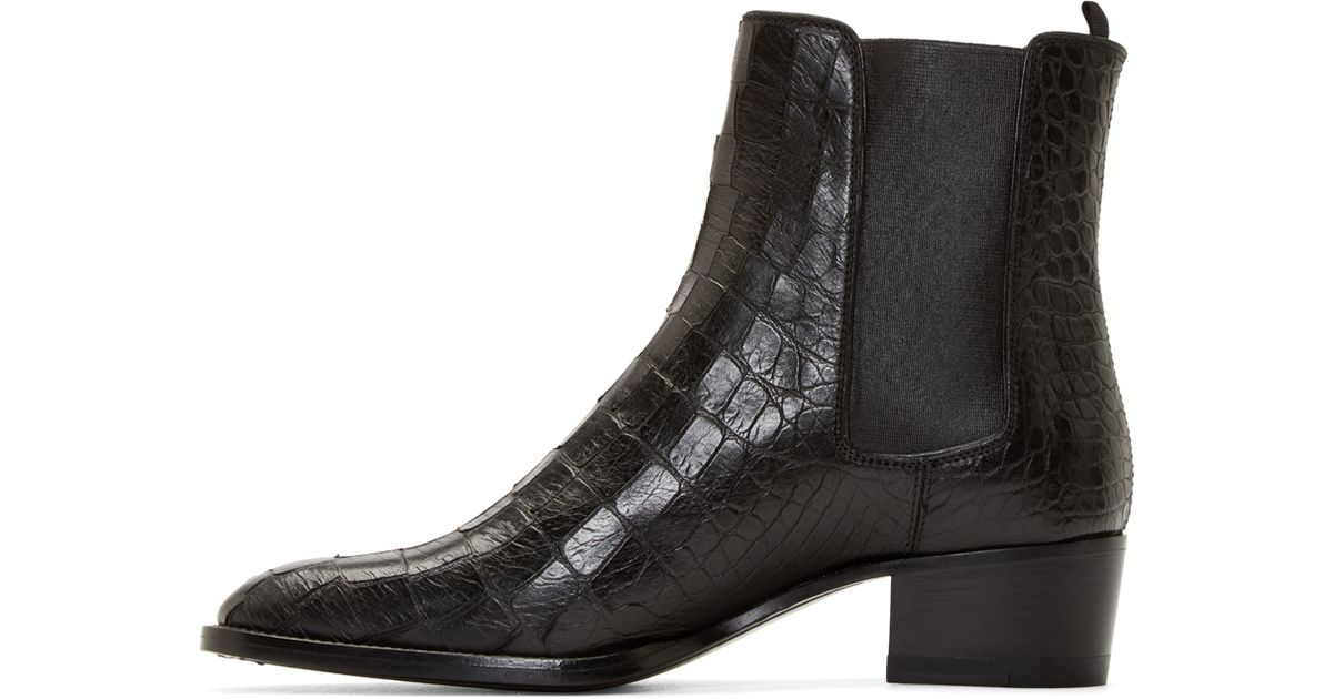 04b10536cf5 Saint Laurent Black Croc-embossed Leather Wyatt Boots in Black - Lyst