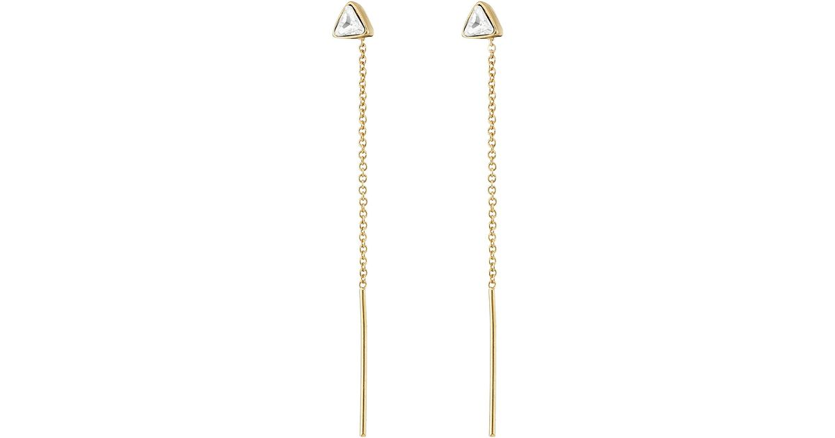 Lyst Vince Camuto Pull Through Triangle Stone Stud Earrings In Metallic
