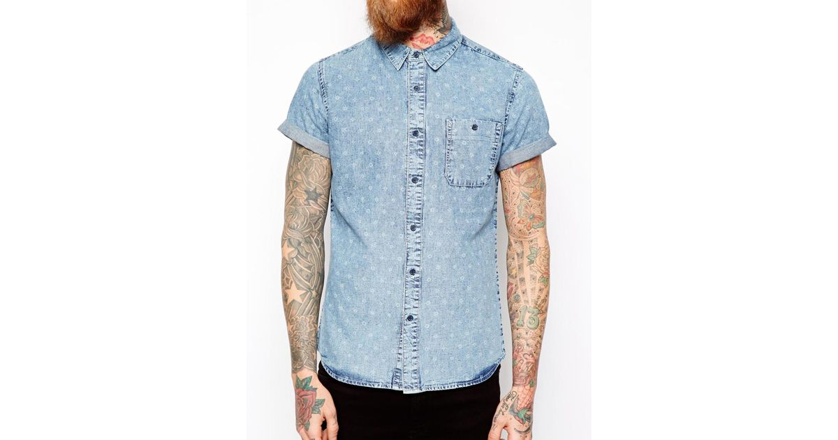 a6a5d860d76 Lyst - ASOS Acid Wash Denim Shirt In Short Sleeve With Icon Print in Blue  for Men