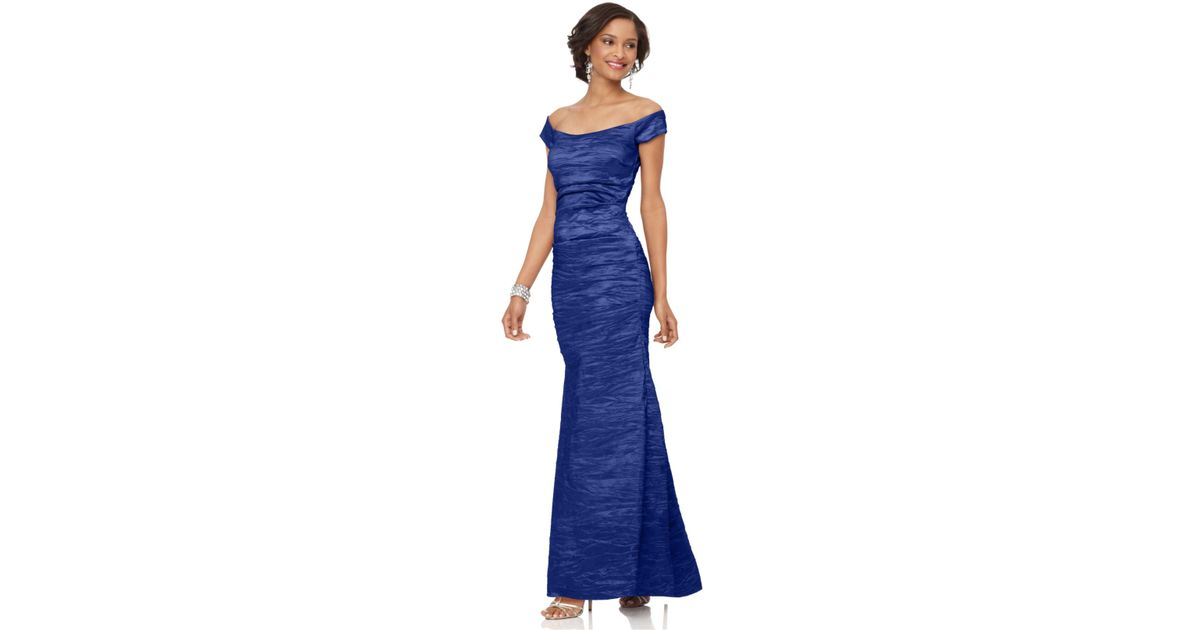 Lyst - Alex Evenings Off-the-shoulder Taffeta Evening Gown in Blue
