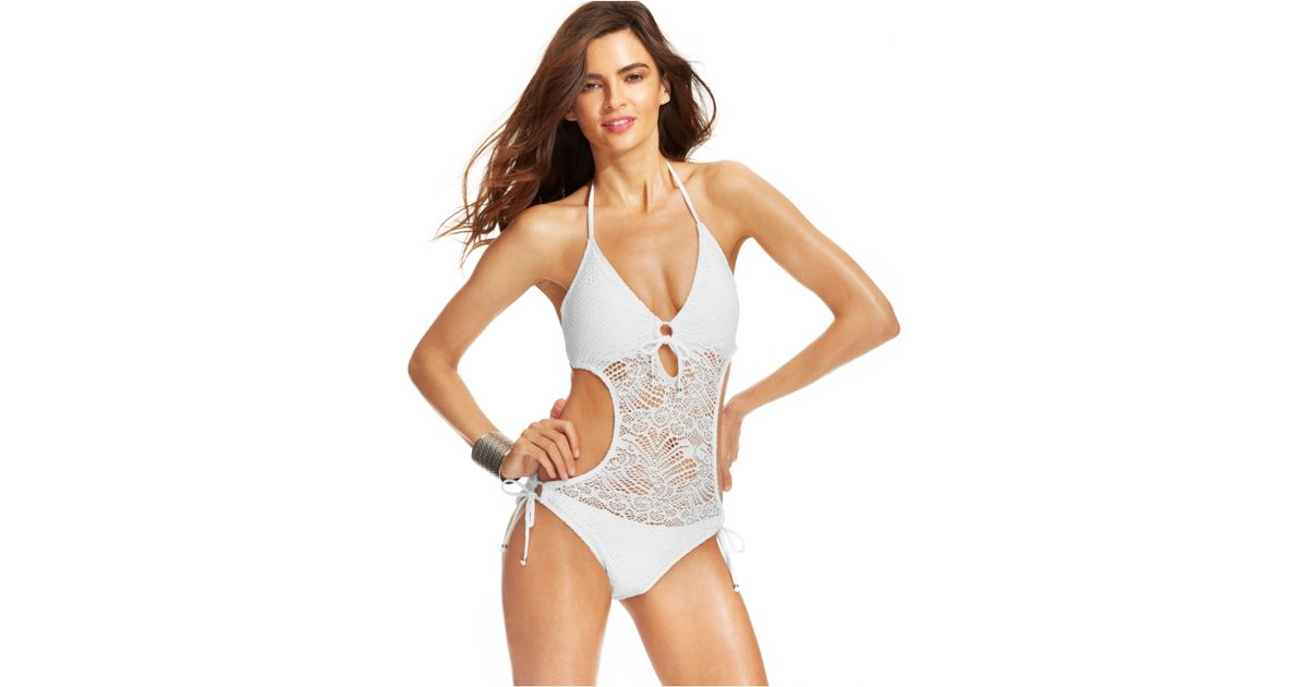 Polo Ralph Lauren Crochet Illusion Monokini Swimsuit In White Lyst