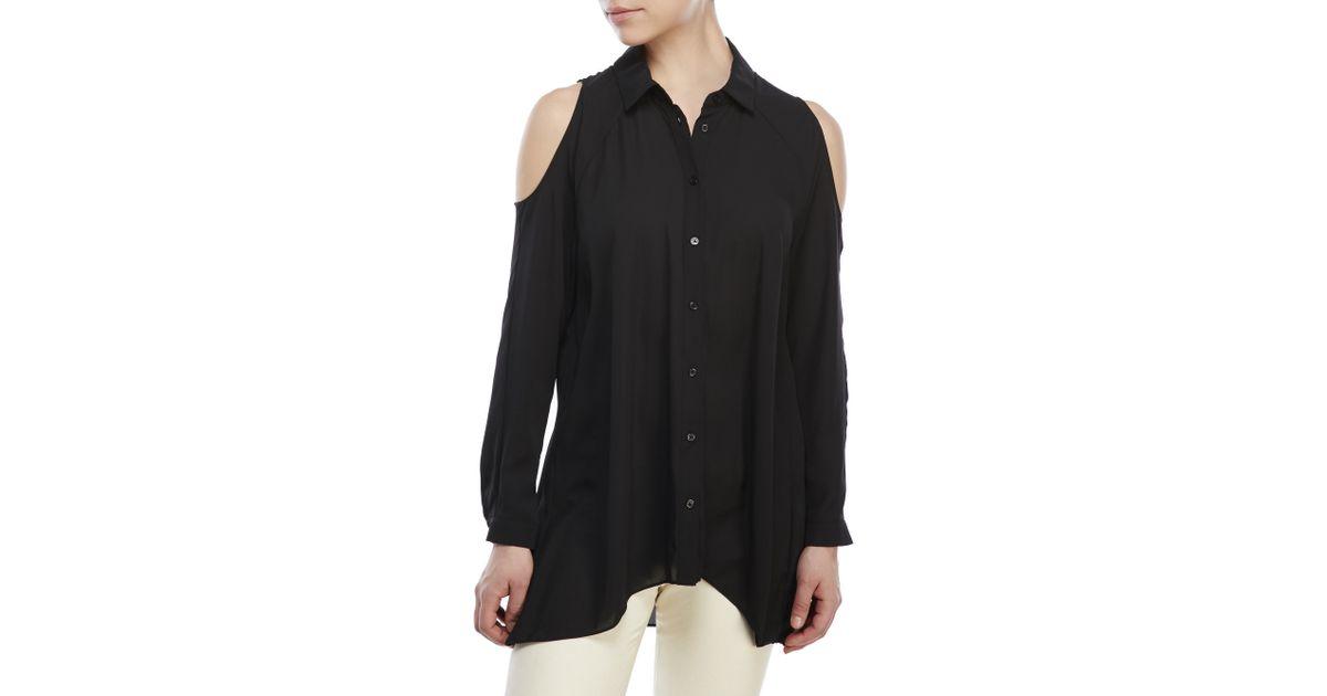 2bc07e09c4b ABS By Allen Schwartz Cold-Shoulder Button-Down Shirt in Black - Lyst