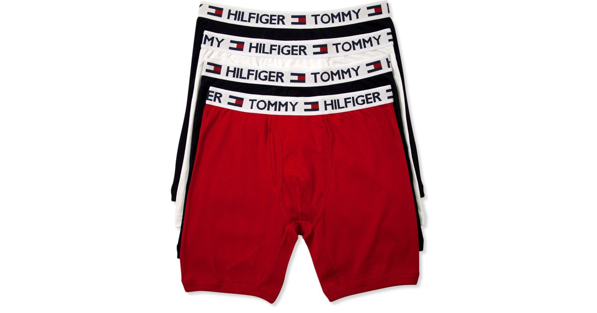 ab2e8656be8b Tommy Hilfiger Cotton Boxer Brief 4-pack in Red for Men - Lyst