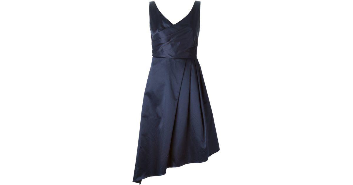 Black stretch satin asymmetrical carven dress