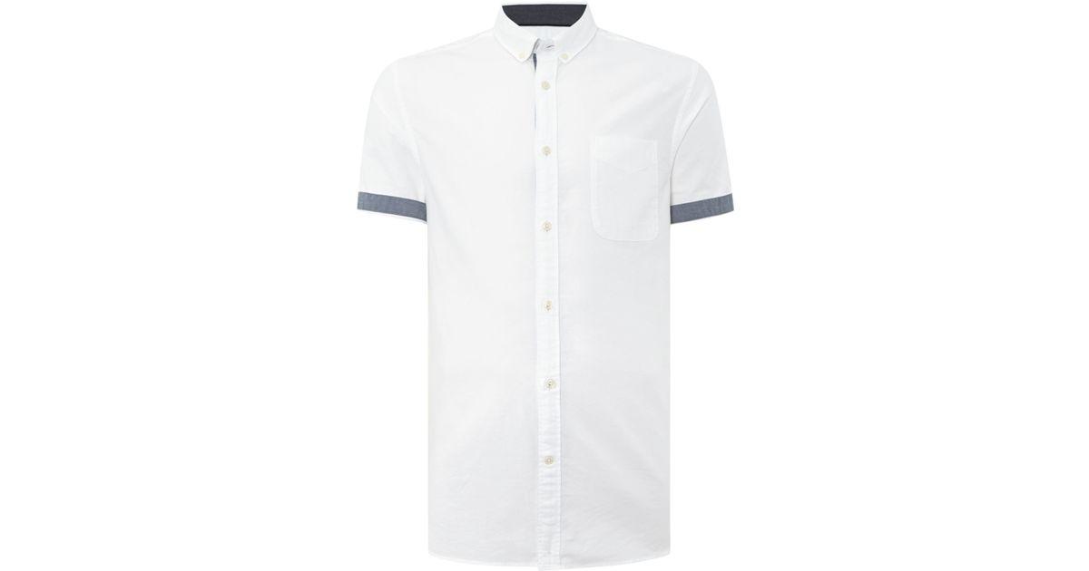 Jack jones slim fit button down short sleeve shirt in for Slim fit white button down shirt