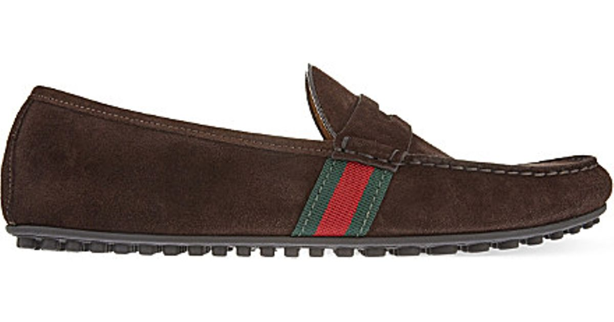 f3d3282e458 Lyst - Gucci Kanye Suede Driver Shoes in Brown for Men