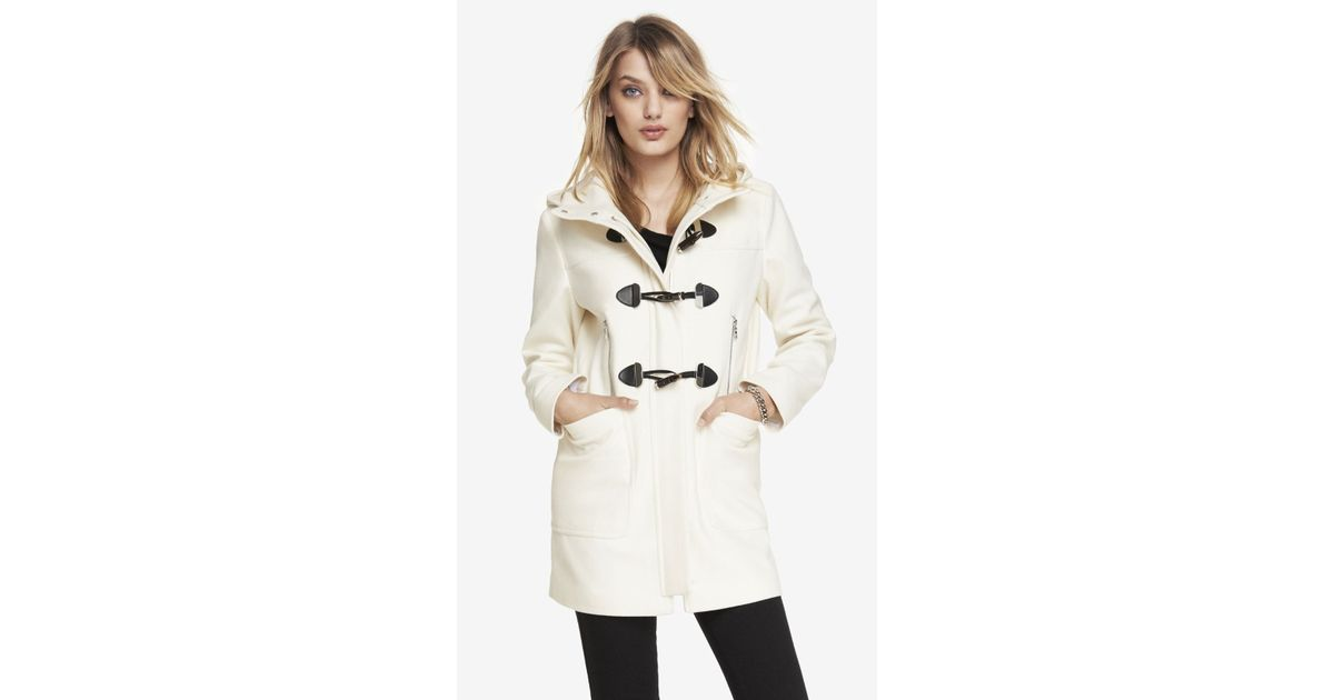 056744e1ea91 Lyst - Express Wool Blend Hooded Toggle Coat in White