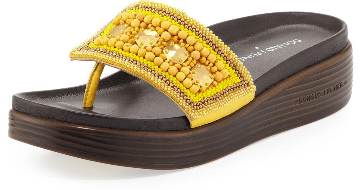 f9199a2317 Donald J Pliner Fifi Beaded Platform Sandal in Yellow - Lyst