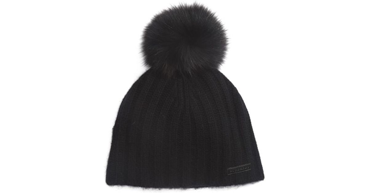 40971392d57 Lyst - Burberry Fox Fur Pom-pom Beanie in Black