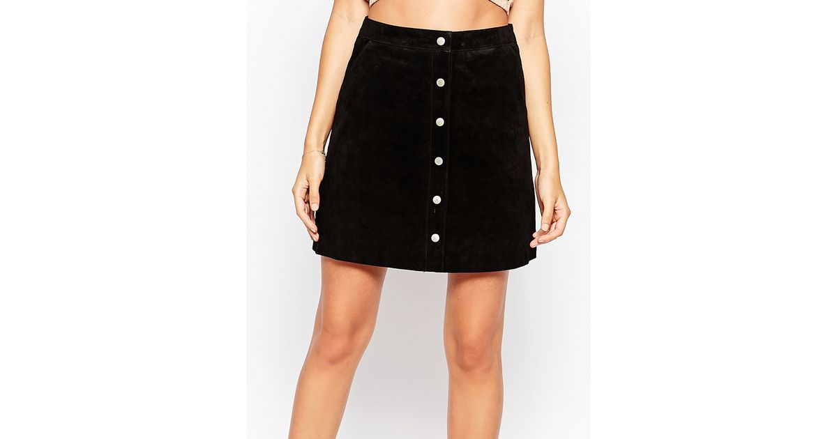 warehouse suede a line skirt in black save 31 lyst
