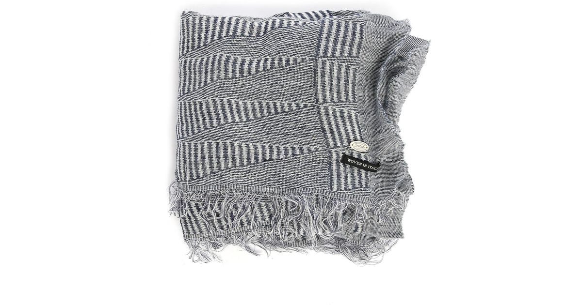 scotch soda blue woven linen scarf in gray for lyst