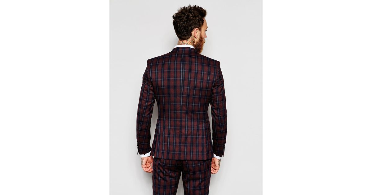 Selected Exclusive Tartan Suit Jacket In Skinny Fit in Purple for