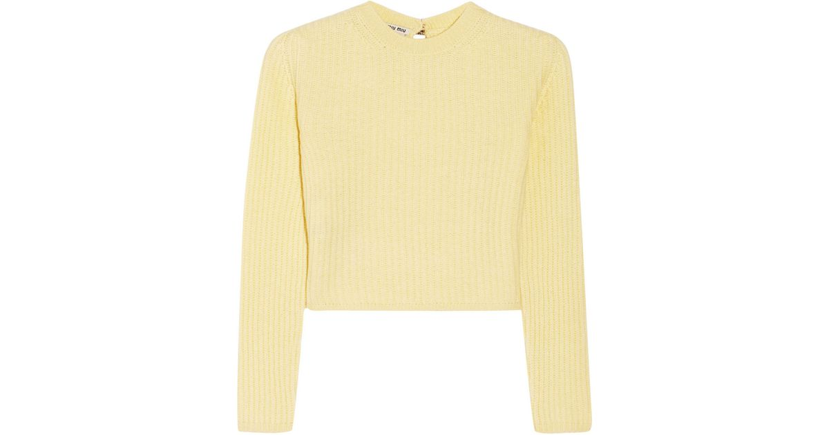 98dc391aa17a Lyst - Miu Miu Cropped Ribbed Cashmere Sweater in Yellow