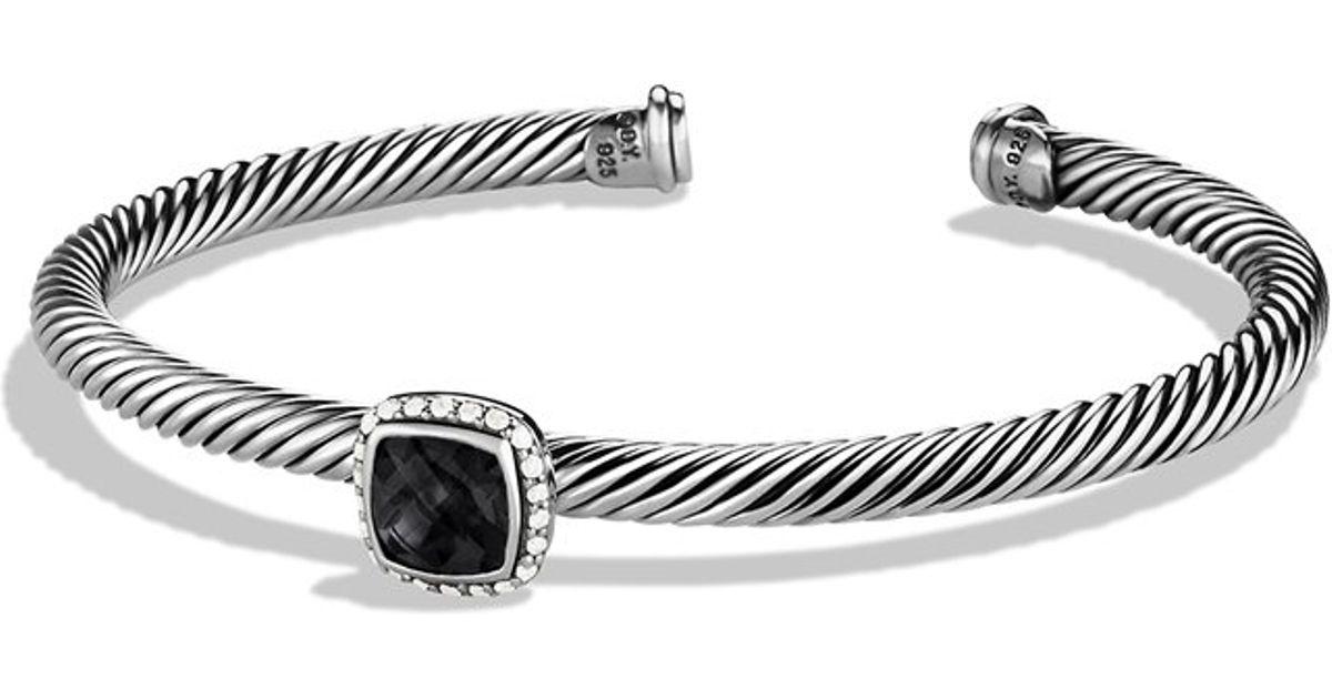 David Yurman Lesse Bracelet With Black Onyx And Diamonds In Metallic Lyst