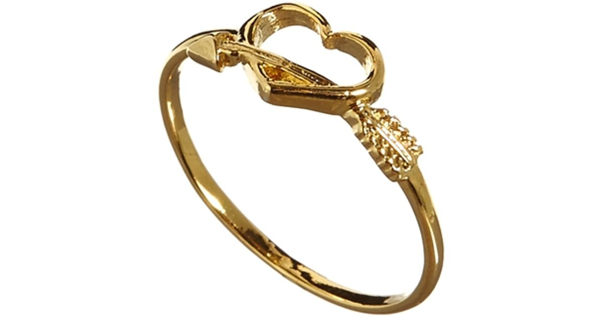 Orelia arrow heart ring in metallic lyst for Jewelry storm arrow ring