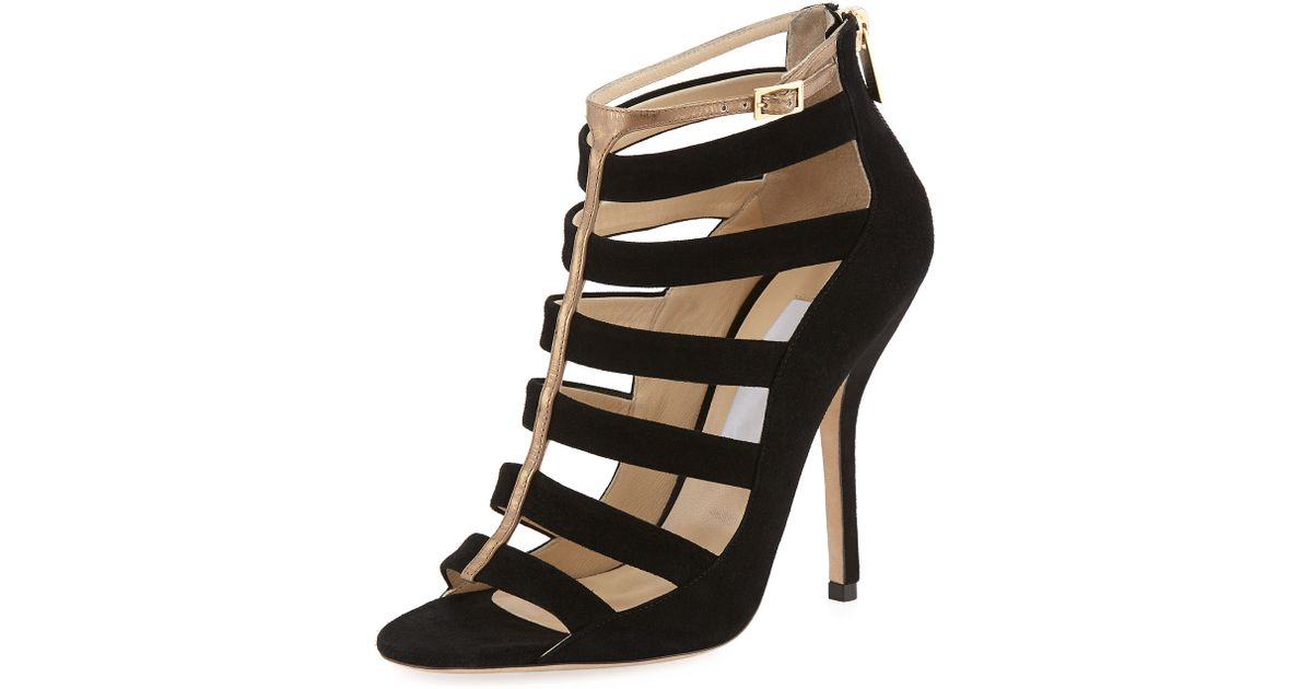 033f415739a Lyst - Jimmy Choo Fathom Strappy Cage Bootie in Black