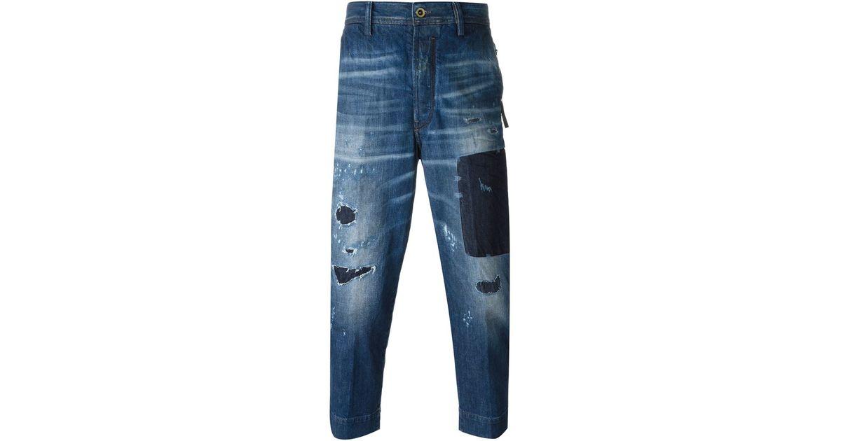 diesel loose fit cropped distressed jeans in blue for men. Black Bedroom Furniture Sets. Home Design Ideas