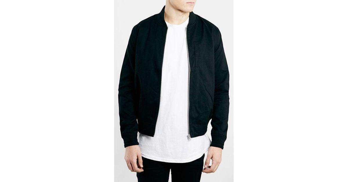 67695edcec8f Lyst - TOPMAN Black Cotton Bomber Jacket in Black for Men