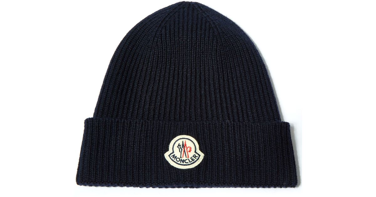 1d45a78fafe Moncler Navy Ribbed-knit Wool Beanie Hat in Blue for Men - Lyst