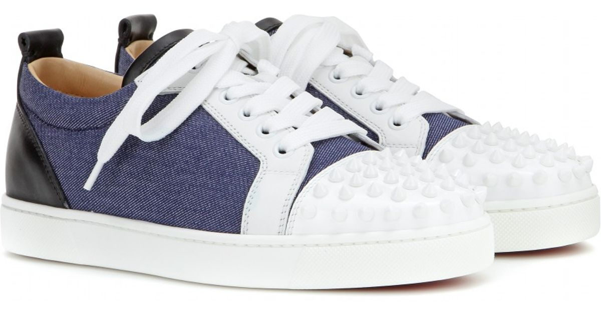 3708ead6cbc Christian Louboutin Louis Junior Spikes Denim And Leather Sneakers in Blue  - Lyst