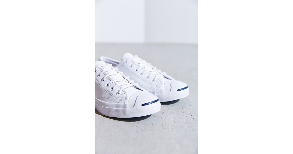 392154242b3190 Lyst - Converse Jack Purcell Tumbled Leather Low-Top Sneaker in White