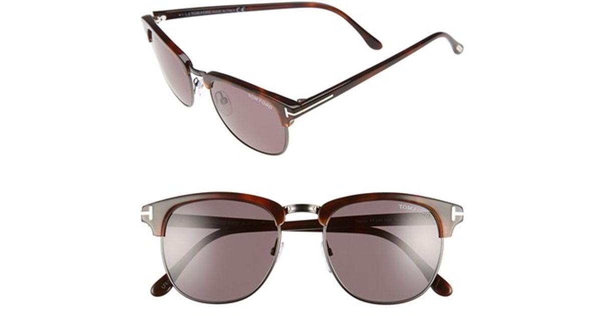 c5a99c74454 Lyst - Tom Ford  henry  53mm Polarized Sunglasses - Dark Havana  Gunmetal   Smoke in Metallic for Men