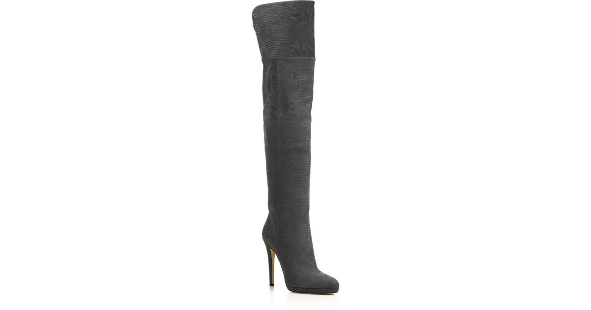 04c4cebd8c6d Jimmy Choo Giselle Lizard-embossed Leather Over-the-knee Boots in Gray -  Lyst