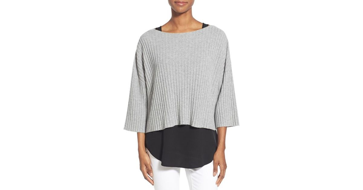Eileen Fisher Cashmere Ballet Neck Boxy Rib Sweater In