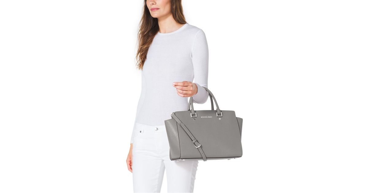 98bd1d2174 Michael Kors Selma Large Saffiano Leather Satchel in Gray - Lyst