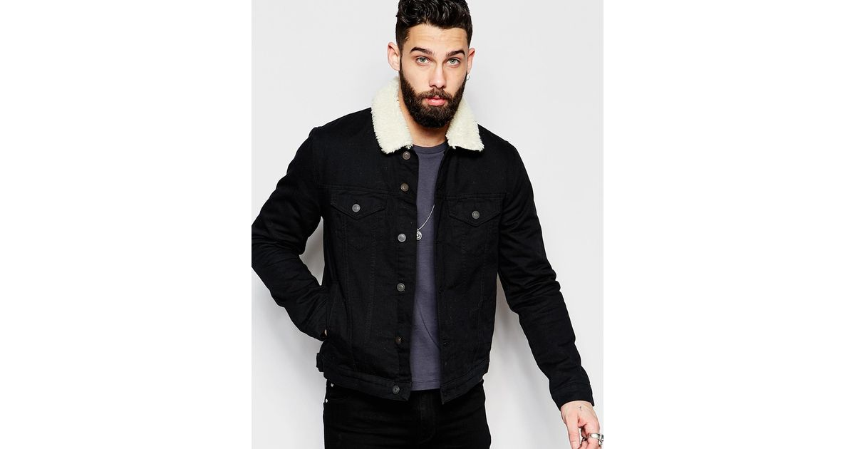 Black jacket with borg collar