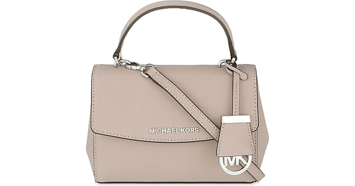 9726aa02ba88 MICHAEL Michael Kors Ava Extra-small Saffiano Leather Cross-body Bag in  Natural - Lyst