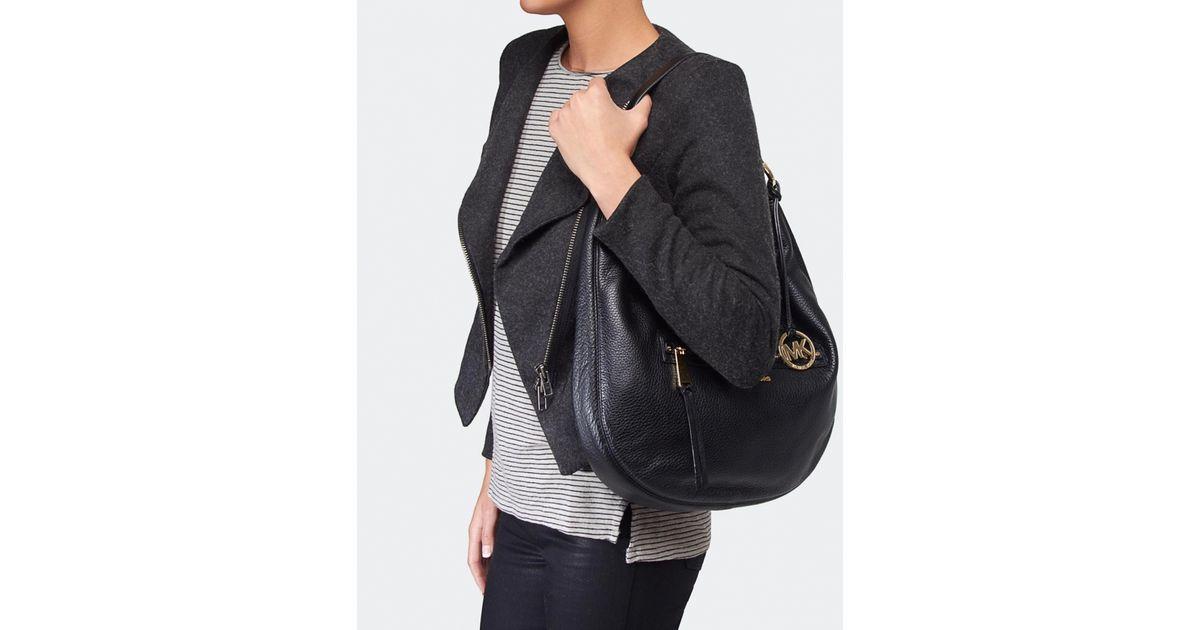 d78a2f333804 Lyst - MICHAEL Michael Kors Rhea Large Zip Shoulder Bag in Black