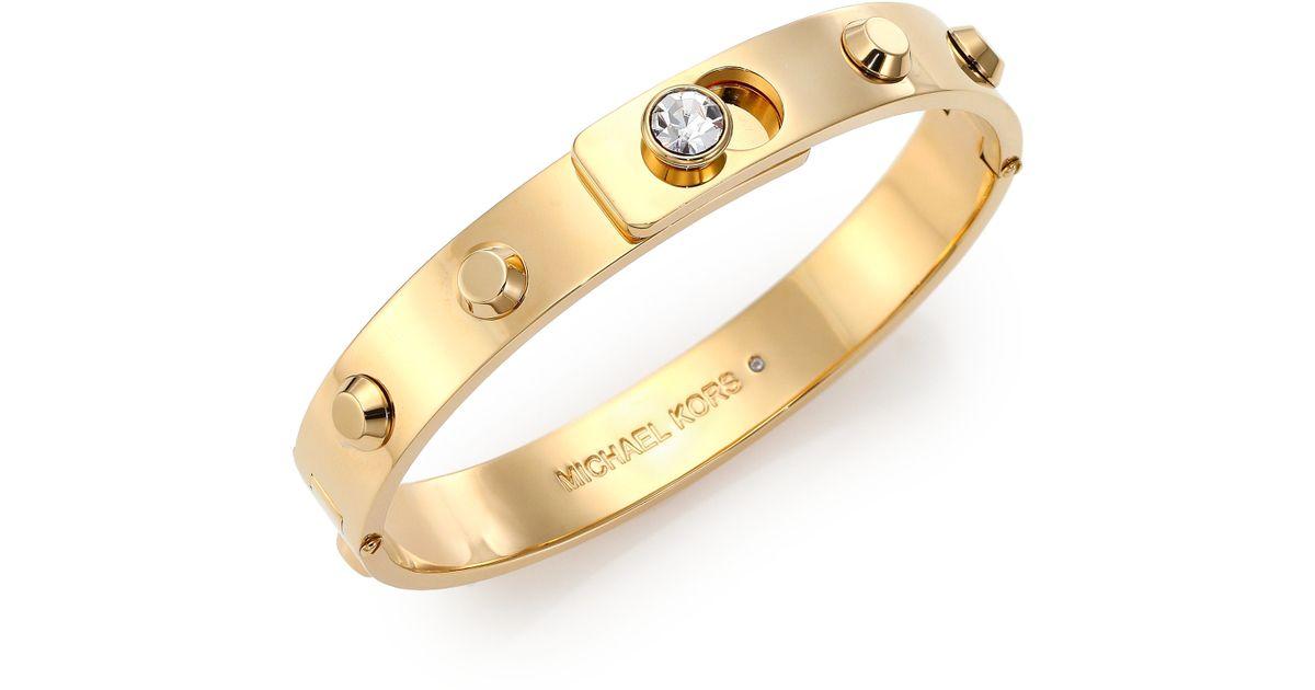 Lyst Michael Kors Cityscape Astor Studded Bangle Bracelet Goldtone In Metallic