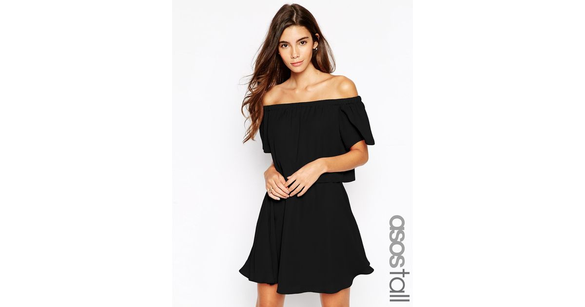 2ba07806a5c1 Lyst - ASOS Gypsy Off Shoulder Dress With Short Sleeves in Black