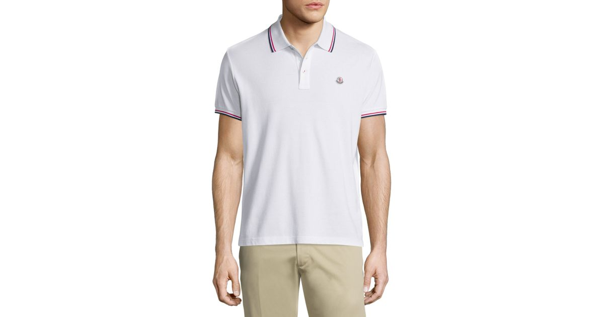 Moncler Tipped Short Sleeve Pique Polo Shirt In White For